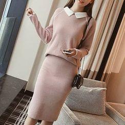 Shomez - 套装: 配色领毛衣 + 针织铅笔裙