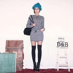 DABAGIRL - Set: Brushed Fleece-Lined Sweatshirt + Drawstring-Waist Miniskirt