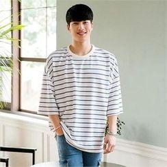 STYLEMAN - 3/4-Sleeve Stripe T-Shirt
