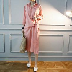 NANING9 - Tie-Waist Linen Blend Shirtdress