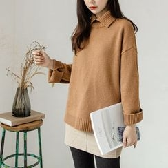 JUSTONE - Slit Turtle-Neck Wool Blend Knit Top