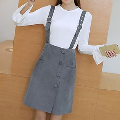 Fashion Street - Buttoned Suspender Skirt