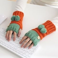 Lazy Corner - Pompom Two Tone Fingerless Knit Mittens