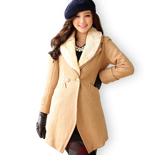 JK2 - Furry-Collar Button-Up Coat