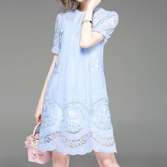 Alaroo - Set: Floral Embroidered Short-Sleeve A-Line Dress + Strappy Dress