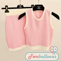 JVL - Set: Sleeveless Striped Knit Top + Skirt