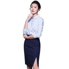 艾尚臣 - 長袖襯衫 / 側開叉鉛筆短裙 / 長褲