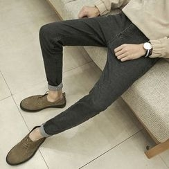 MEING - Letter-Embroidered Slim-Fit Jeans