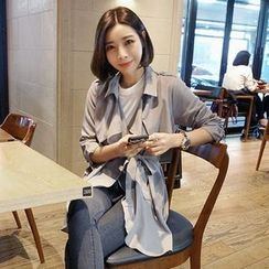 Seoul Fashion - Capelet Trench Coat with Sash
