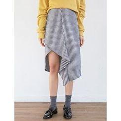 FROMBEGINNING - Asymmetric-Hem Check A-Line Skirt