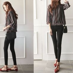 NIPONJJUYA - Fringe-Edge Patterned Tweed Top