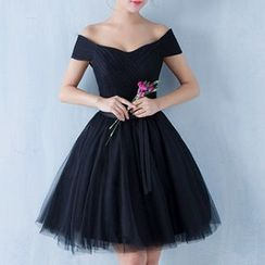 Luxury Style - Off-Shoulder Mini Prom Dress