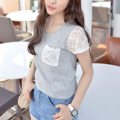 CLICK - Lace-Panel Short-Sleeve T-Shirt