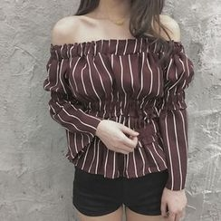 wisperia - Long-Sleeve Off Shoulder Striped Top
