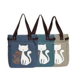 LISEN - Cat Print Denim Shopper Bag