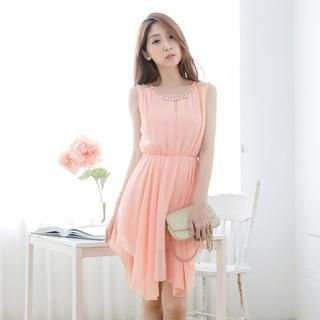 Tokyo Fashion - Lace-Panel Rhinestone Chiffon Sleeveless Dress