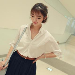 CLICK - Placket Bow-Sleeve Top