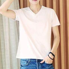 Really Point - Plain V-Neck Short-Sleeve T-Shirt