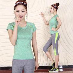 RITMO - 套装: 运动短袖T恤 + 七分瑜伽裤