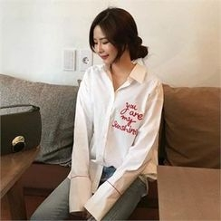 QNIGIRLS - Embroidered Lettering Shirt