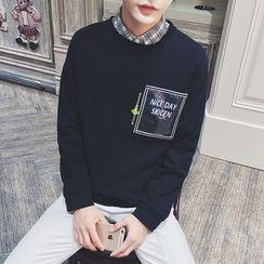 子俊 - 字母拉鍊裝飾長袖T恤