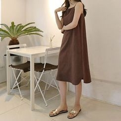 Hello sweety - Spaghetti-Strap Linen Shift Midi Dress