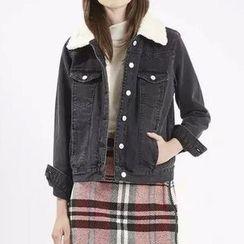 Chicsense - Fleece-Lined Denim Jacket