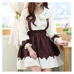 Sechuna - Set: Frill-Trim Embroidered Blouse + Suspender Skirt