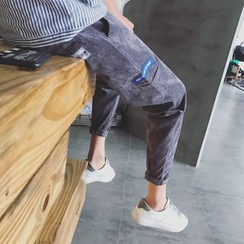 Masowild - Embroidered Corduroy Tapered Pants