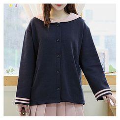 Sechuna - Sailor-Collar Brushed Fleece Jacket