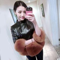 KOTEN - Furry Trim Faux Leather Jacket