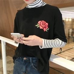 Shopherd - Floral Embroidered Elbow-Sleeve T-Shirt