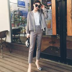 LRZ - 套装: 开胸针织外套 + 长裤