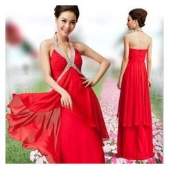 Gracia - Rhinestone Halter Evening Gown