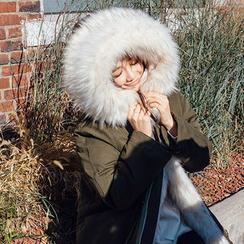 chuu - Hooded Drawstring-Detail Faux-Fur Lined Jacket