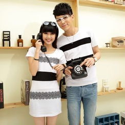 Porspor - Couple Set: Striped T-Shirt / T-Shirt Dress