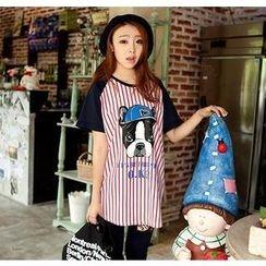 Love Seoul - Raglan-Sleeve Striped Dog Print T-Shirt