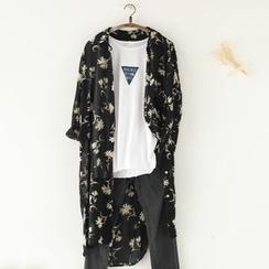 11.STREET - Floral Print Long Chiffon Jacket