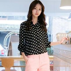 OrangeBear - Long-Sleeve Dotted Chiffon Blouse