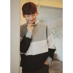 JOGUNSHOP - Turtle-Neck Color-Block Sweatshirt