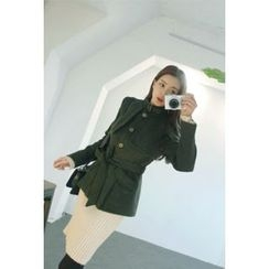 ATTYSTORY - Belted Stand-Collar Military Coat with Sash