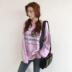 NIPONJJUYA - Layered-Hem Lettering Cotton Sweatshirt