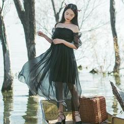 Sens Collection - Off Shoulder Maxi Mesh Dress