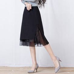 ENKA - Houndstooth Midi Tweed Skirt