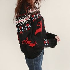 NIPONJJUYA - Crew-Neck Nordic Pattern Sweater