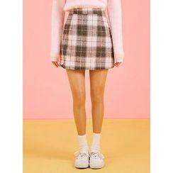 icecream12 - Check Mini Pencil Skirt