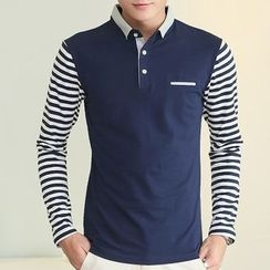 Fesso - Striped Color-Block Polo Shirt