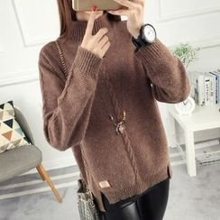 anzoveve - Cable-Knit High Neck Sweater