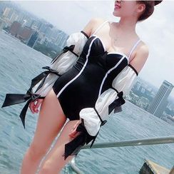 Jumei - Beribboned Long-Sleeve Cold Shoulder Swimsuit