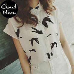 Cloud Nine - Cap-Sleeve Print Chiffon Blouse